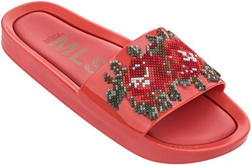 Melissa Womens Beach Slide Flower Slide Sandal Red Warm Size 10