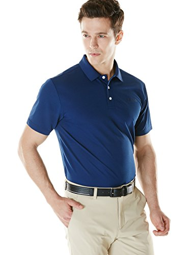 Price comparison product image TM-MTK01-NVY_Large Tesla Men's Hyper Dri Polo Active Sports Performance Short Sleeve Shirt MTK01