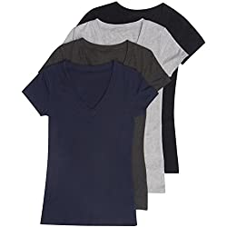 4 Pack Zenana Women's Basic V-Neck T-Shirt Large Black, Charcoal, H Gray, Navy