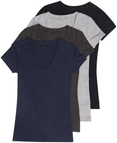 4 Pack Zenana Women's Basic V-Neck T-Shirt Med Black, Charcoal, H Gray, Navy ()