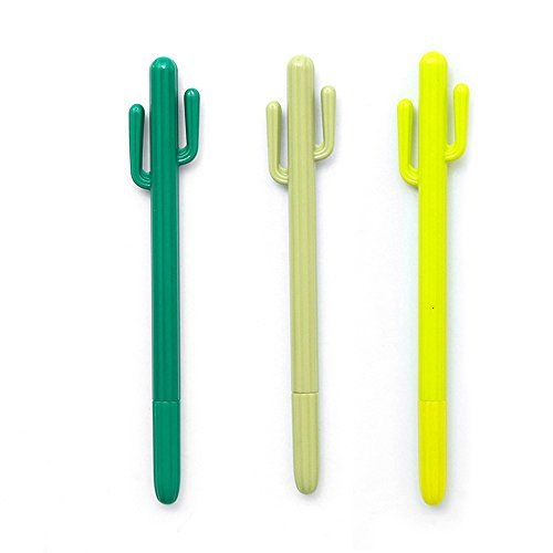 GerTong 3Pcs/Set Creative 0.5mm Gel Pen Cute 3D Mini Lovely Cactus Plastic Gel Pens School Office Stationary Gift for Students Kids Girls