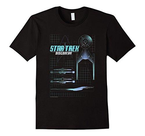 Star Trek Discovery Ship Schematic Blue Glow Graphic T-Shirt