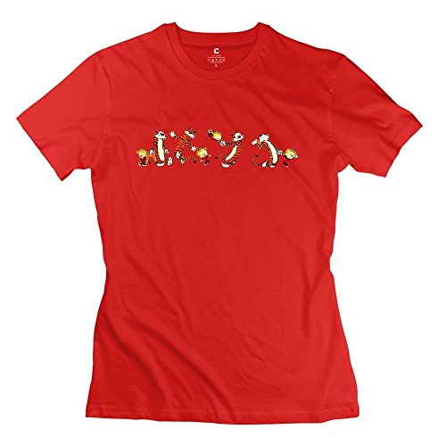 Vintage Calvin And Hobbes Thomas Tiger Women's T-shirt Red Size M