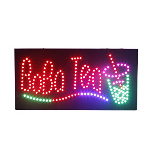 Bar Sign Led Juice - LED Boba Tea Open Light Sign Super Bright Electric Advertising Display Board for Juice Bar Bubble Tea Smoothie Coffee Cafe Business Shop Store Window Bedroom Decor 24 x 12 inches