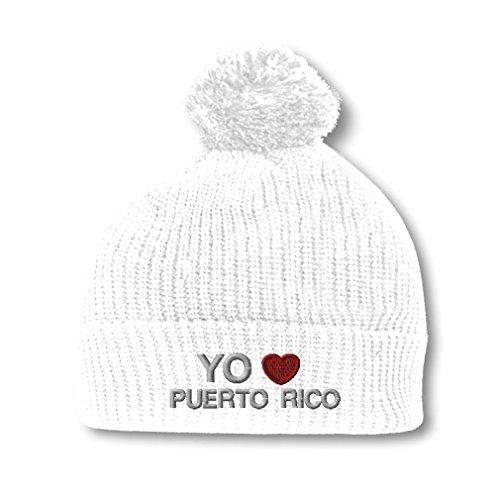 Yo Amo Puerto Rico Spanish I Love Puerto Rico Embroidered Pom Pom Beanie Hat White - Spanish Hat With Pom Poms