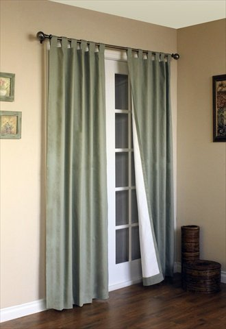 Commonwealth Home Fashions 70292-153-714-54 Thermalogic Insulated Solid Color Tab Top Curtain Pairs 54 in., Sage