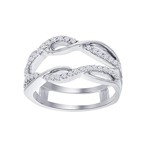 bbamjewelry 14K White Gold Fn Wave Design Solitaire Enhancer Cubic Zirconia Ring Guard Jacket