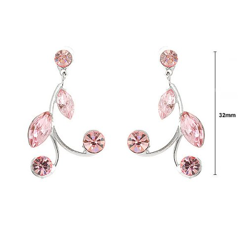 Glamorousky Pink Leaves Earrings with Pink Austrian Element Crystals 775