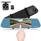 7-Inch Touch Screen Backup Camera Mirror Dash Cam 1080P Front and Rear Dual Lens with Waterproof Rearview Reversing Camera(Free 16GB SD Card)