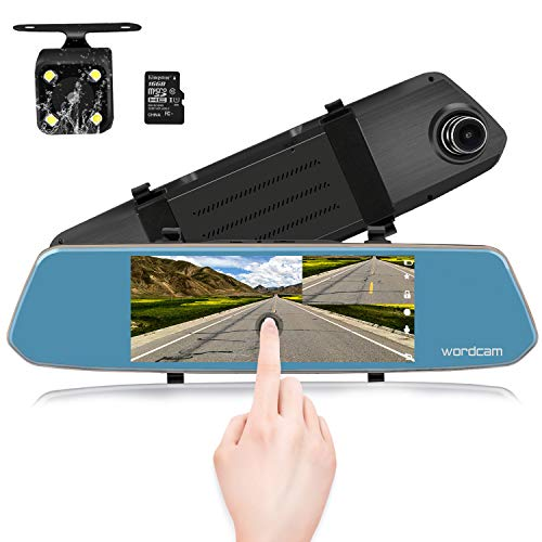 (7-Inch Touch Screen Backup Camera Mirror Dash Cam 1080P Front and Rear Dual Lens with Waterproof Rearview Reversing Camera(Free 16GB SD Card))