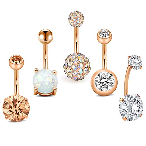 MODRSA 5pcs Jeweled Belly Button Rings 14G Surgical Steel Round Cubic Zirconia Navel Barbell Body Piercing Short Belly Bar 3/8