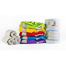Bamboo Cloth Diapers Starter Package by Planet Baby - 10 Bamboo Cloth Diapers All in Two, 10 Bamboo 4 Layer Snap-in Ultra-Absorbent Inserts, 10 Pack Reusable Bamboo Cloth Wipes, Two rolls Flushable Diaper Liners & One Wet/Dry Bag