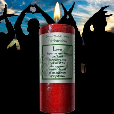 Love Pillar Candle - Affirmation - Love Candle