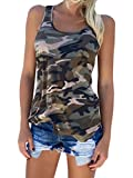 Zcavy Women's Camo Sport Tanks Tops Soft Workout Tee Shirt Racerback Yoga Gym Tees Sleeveless Quick Dry Tank Top Slim Fit Green L