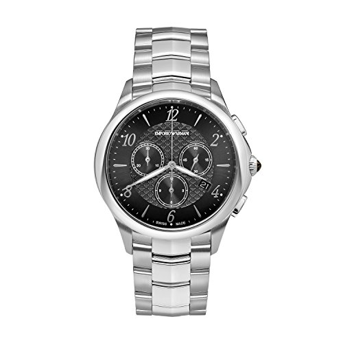 Emporio Armani Swiss Made Men's 'Dress' Swiss Quartz Stainless Steel Casual Watch, Color:Silver-Toned (Model: ARS8700)