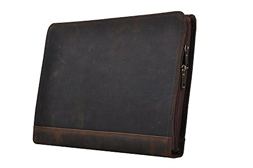Rustic Leather Organizer Laptop Portfolio with Notepad Holder for 13 inch Surface Book / MacBook Air, Brown