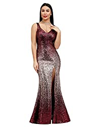 Women Sequins Floor Length V-Neck Dresses