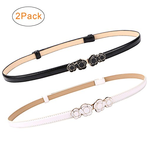 Black Thin Buckles - 2 Pack Women Skinny Leather Belts Thin Waist Belt for Dresses Fashion Adjustable Black with Interlocking Buckle