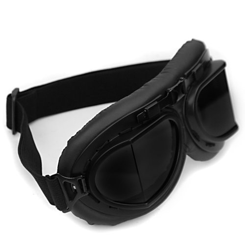 Retro Steampunk Style Black Frame Smoke Lens UV Protection Helmet Goggles - Sunglasses Racer Cafe