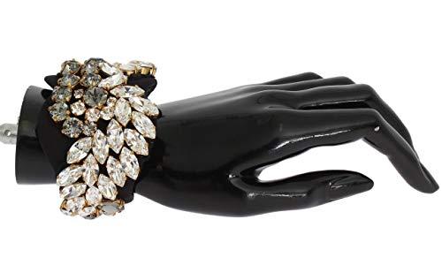 Dolce & Gabbana - Black Silk Clear Gray Crystal Bracelet (Bracelets Dolce Gabbana Gold)