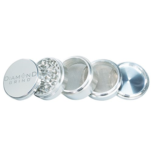 Diamond Grind 5 Piece Aluminum Herb Grinder with two screens 63mm (2.50