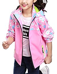 BESBOMIG Girls Waterproof 3-in-1 Winter Jacket Fleece Lined Windbreaker Hooded
