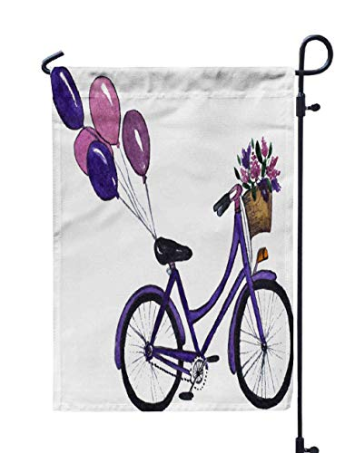 Shorping Farm Garden Flag, 12x18Inch City Bicycle with Basket of Flowers and Balloons Watercolor Handdrawn for Holiday and Seasonal Double-Sided Printing Yards Flags -