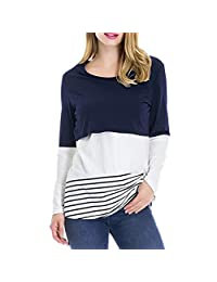 ASTV Women Maternity Tops Blouse Casual Lace Splice Pregnant Nursing Tops