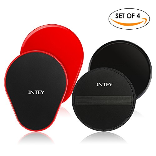 INTEY Exercise Sliders Fitness Workout Sliders Gliding Discs. Dual Sided Use on Carpet or Hardwood Floors, Bonus Carry Bag and Gift Box