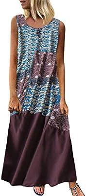SMILEQ Vestido de Mujer Algodón Vintage Estampado de Lino Falda ...