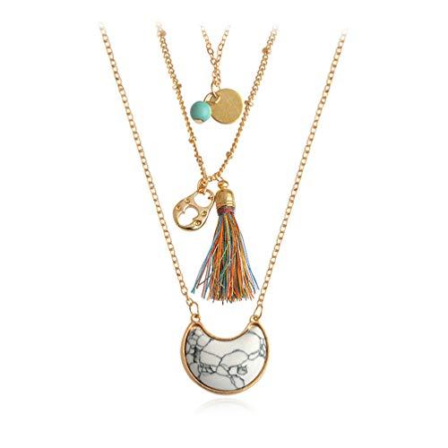 (Eightgo Turquoise Crystal Beaded Necklace Tassel Layering Pendant Necklace Jewelry(White) )