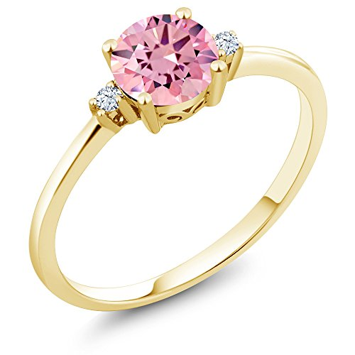 Gold Pink Sapphire Solitaire (10K Yellow Gold Engagement Solitaire Ring set with 1.53 Ct Round Pink Zirconia and White Created Sapphires)