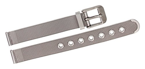 Citime Silver Stainless Steel Watch Band, Shiny Finish, Mesh, Pin Clasp, 12mm Strap - Shiny Silver Band Mesh
