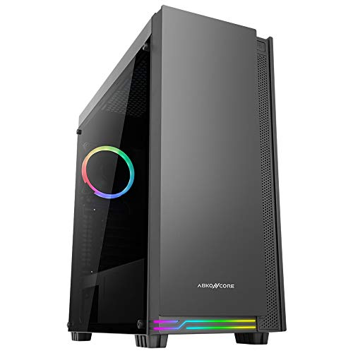 ABKONCORE E-ATX Premium Mid-Tower PC Gaming Case, Pre-Installed RGB Fan, Premium Tempered Glass, Front RGB LED, Magnet…