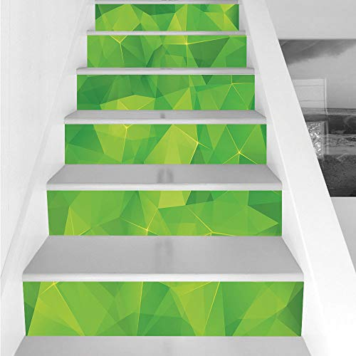 Stair Stickers Wall Stickers,6 PCS Self-adhesive,Green,Abstract Triangles Geometric Composition Fractal Mosaic Futuristic Print Decorative,Lime Green Apple Green,Stair Riser Decal for Living Room, Hal