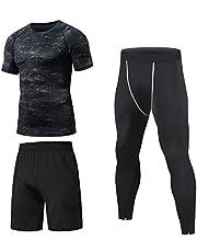 Niksa 3 Pezzi Fitness Palestra Completi Sportivi da Uomo Abbigliamento Sportivo,Compressivo Maglie e T-Shirt Pantaloni Collant a Compressione Vestiti