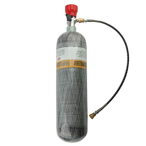 IORMAN 3L Carbon Fiber Air Tank & Fill Station CE Certified 4500psi High Pressure for PCP Paintball Scuba SCBA(Empty Bottle) (Red Valve Kit)