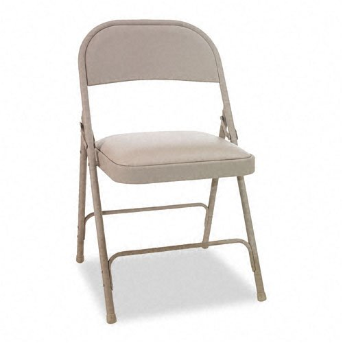 - Alera : Steel Folding Chair with Padded Seat, Tan -:- Sold as 2 Packs of - 4 - / - Total of 8 Each