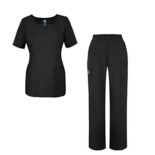 Universal Women's Scrub Set - V-Neck Scrub Top Elastic Pull-On Scrub Pants