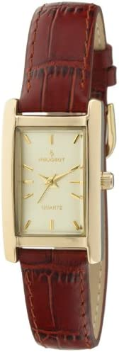 Peugeot Women's Classy 14K Gold Plated H Rectangle Case Leather Band Dress W