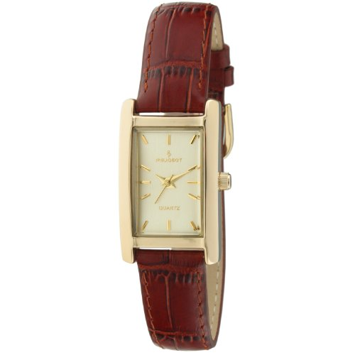 Peugeot Women's 3007BR Classy 14K Gold-Plated H Rectangle Case Watch with Brown Leather Band (Watch Plated Leather Gold Wrist)