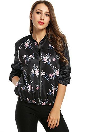 Floral Baseball Black Coat Women Print Zipper Short Collar Outwear Bomber Stand Jacket Black w11ExqRO