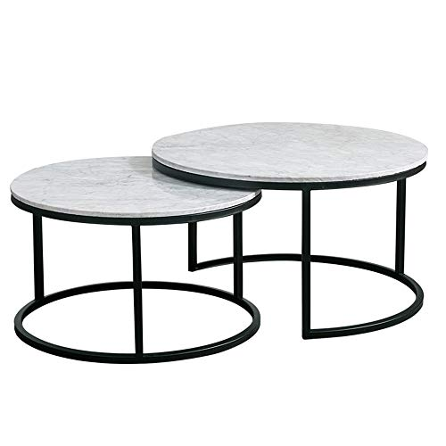 (YIKE-Coffee Table 2-Piece White Marble Coffee Table, Round Living Room Combination Wrought Iron Table, Natural Texture, Suitable for Small Apartments, Balcony, Size: 60 × 40 cm, 80 × 45 cm)