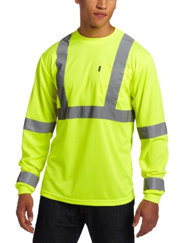 Key Apparel Men's Long Sleeve High Visibility Waffle Weave Reflective Stripe Pocket Tee Shirt, Hi-vis, Large-Regular