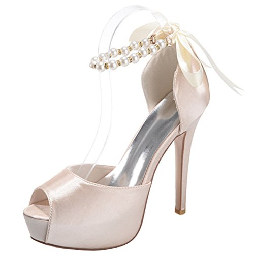 profonde amp;S Heels peu High Champagne bouche Chaussures Cour Women's Mariage Pompes MEI Prom Fish Mouth Stiletto PYXCCdx