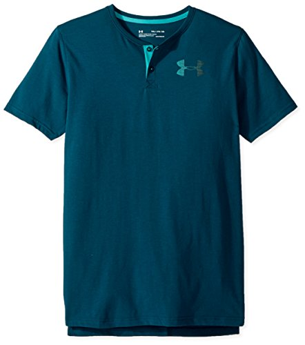 Under Armour Boys' Knit Short Sleeve Henley, Tourmaline Teal (716)/Teal Punch, Youth Large