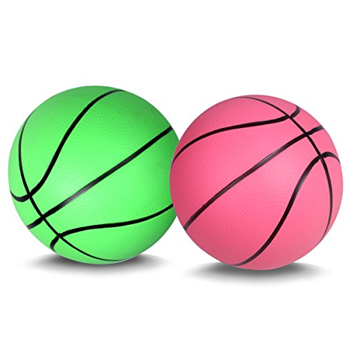 Mini Basketball for Kids Basketballs Baby Toys Ball Indoor Play Game Balls 5.5 Inch - 2PCS (pink+green)