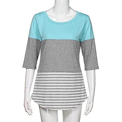 Meikosks Women's Color Block T Shirt 3/4 Sleeve Round Neck Tops Striped Patchwork Blouses: Clothing
