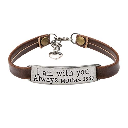 Personalized Religious Jewelry Inspirational Leather Bracelet Engraved I Am With You Always