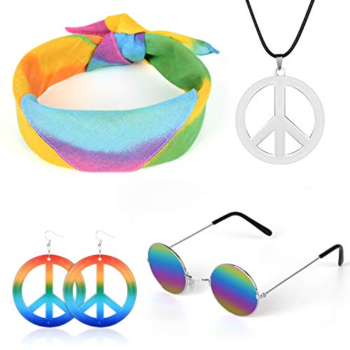 Z-synka 4 PCS Halloween Costume Set Hippie Costume Set for Women & Men Includes Hippie Sunglasses,Rainbow Peace Sign Necklace,Headband Bandana,Peace Sign Earrings 60s or 70s Hippie ()